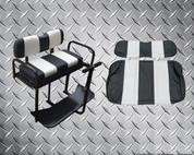 EZGO TXT Rear Seat Flip Seat Kit - Black & White Two Tone (w/ Front Seat Cover + FREE Grab Bar)