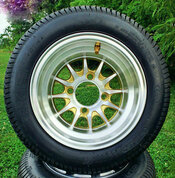 """10"""" PHOENIX Gold/ Machined Wheels and 205/50-10 Low Profile DOT Tires Combo"""
