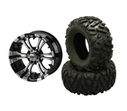 "12"" VAMPIRE Machined/ Black Aluminum Wheels and 25"" EXTREME Terrain Tires Combo - Set of 4"