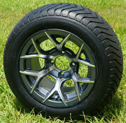 """12"""" RALLY Gunmetal Wheels and 215/50-12 ComfortRide DOT Tires - Set of 4"""