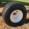 """8"""" White Steel Golf Cart Wheels and 18x8.50-8"""" Turf/ Street Tires Combo"""