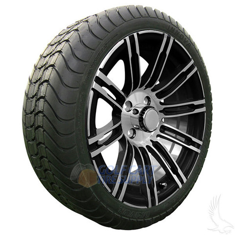 "15"" RHOX AC602 Machined/ Black Wheels and Innova 205/35R-15"" DOT Tires Combo"
