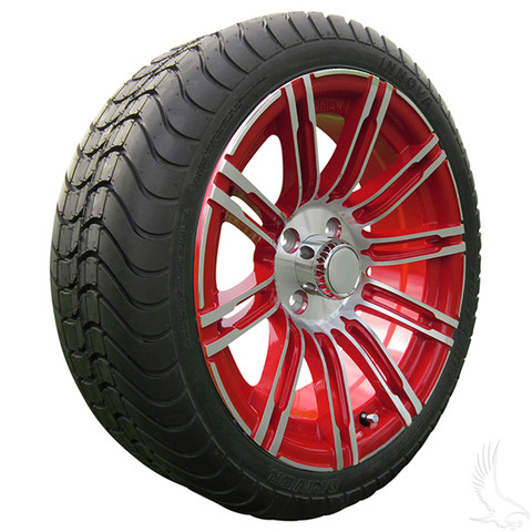 """15"""" RHOX AC602 Machined/ RED Wheels and Innova 205/35R-15"""" DOT Tires Combo"""