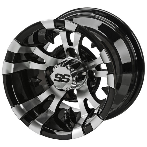"10"" VAMPIRE Machined/ Black Aluminum Golf Cart Wheels - Set of 4"