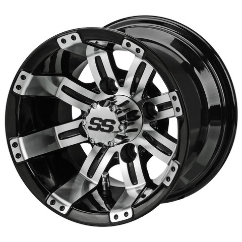 "10"" TEMPEST Machined/ Black Aluminum Golf Cart Wheels - Set of 4"