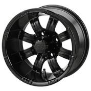 """10"""" TEMPEST MATTE BLACK Aluminum Golf Cart Wheels - Set of 4"""