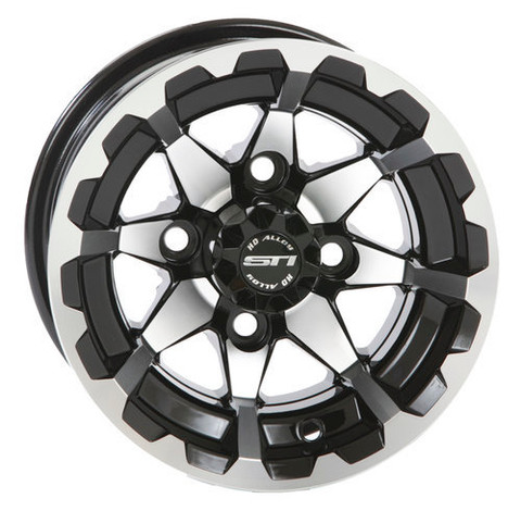 "10"" STI HD6 Machined/ Black Aluminum Golf Cart Wheels - Set of 4"
