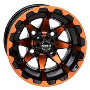 "10"" STI HD6 RADIANT ORANGE/ Black Aluminum Golf Cart Wheels - Set of 4"