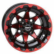"10"" STI HD6 RADIANT RED/ Black Aluminum Golf Cart Wheels - Set of 4"