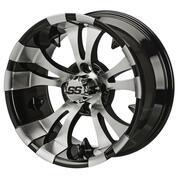"12"" VAMPIRE Machined/ Black Aluminum Golf Cart Wheels - Set of 4"