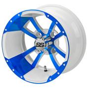"12"" STORM TROOPER White/BLUE Aluminum Golf Cart Wheels - Set of 4"