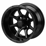 "12"" TREMOR Matte Black Aluminum Golf Cart Wheels - Set of 4"