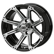 "14"" RAMPAGE Machined/ Black Aluminum Golf Cart Wheels - Set of 4"