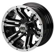 "14"" RAIDER Machined/ Black Aluminum Golf Cart Wheels - Set of 4"