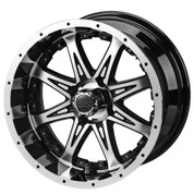 "14"" REVENGE Machined/ Black Aluminum Golf Cart Wheels - Set of 4"