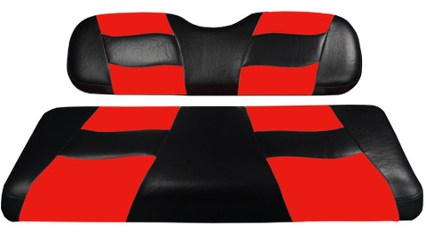 MADJAX Riptide Two Tone Front Seat Covers in Black/Red -  Fits all Carts!