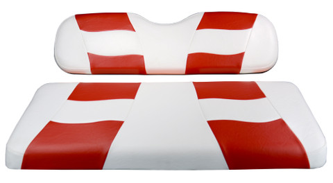 MADJAX Riptide Two Tone Front Seat Covers in White/Red - Fits all Carts!