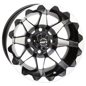 "12"" STI HD6 Machined/ Black Aluminum Golf Cart Wheels - Set of 4"