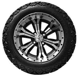 """14"""" OPTIMUS Machined/Black Wheels and 23x10-14"""" BACKLASH DOT All Terrain Tires Combo - Set of 4"""