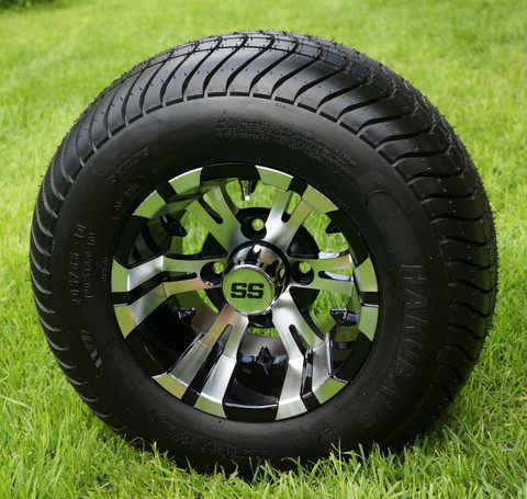"""10"""" VAMPIRE Machined/ Black Wheels and 205/65-10 ComfortRide DOT Tires - Set of 4"""