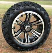 """14"""" RAIDER Machined/ Black Wheels and 23x10-14"""" DOT All Terrain Tires Combo - Set of 4"""