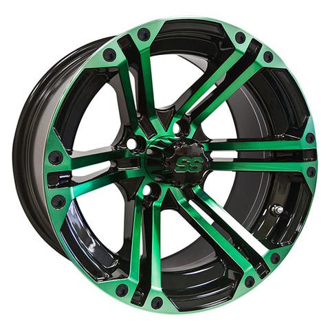 "14"" TERMINATOR Gloss Black/Radiant GREEN Aluminum Golf Cart Wheels - Set of 4"