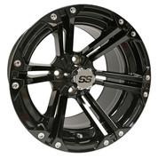 "14"" TERMINATOR Gloss Black Aluminum Golf Cart Wheels - Set of 4"