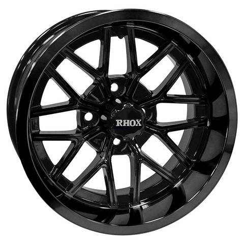 "14"" NIGHTHAWK Gloss BLACK Aluminum Golf Cart Wheels - Set of 4"