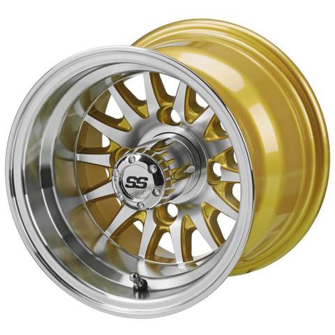 """RHOX Phoenix 10"""" Machined/ Gold Wheels 14 spoke - Set of 4"""