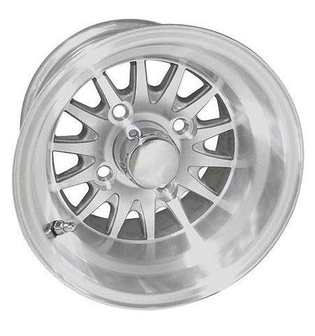"""RHOX Phoenix 10"""" Machined/ Silver Golf Cart Wheels 14 spoke"""