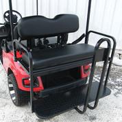 Rhino 700 Series SS EZGO TXT Golf Cart Rear Flip Seat Kit - Black (fits 1996+)