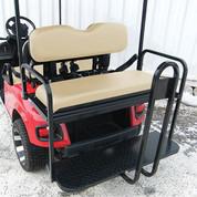 Rhino 700 Series SS EZGO TXT Golf Cart Rear Flip Seat Kit - Tan (fits 1996+)
