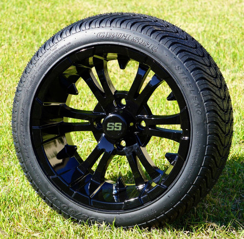 "14"" VAMPIRE Gloss Black Aluminum Wheels and 205/30-14 DOT Low Profile Tires Combo - Set of 4"