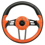 "Club Car Precedent 13"" Aviator-4 Orange Grip Golf Cart Steering Wheel w/ Black Spokes (Fits all Years)"