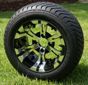 """12"""" VAMPIRE Black/ Machined Wheels and StreetRide 215/50-12 Tires"""