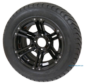 "12"" TERMINATOR BLACK Wheels and 215/50-12 StreetRide DOT Tires"