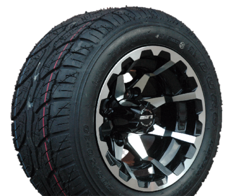 "STI HD6 Machined/ Black 10"" Wheels and Slasher GTX Pro 205/50-10 DOT Tires Combo - Set of 4"