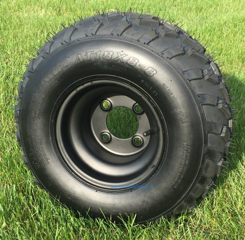 "RHOX RXAL 18x8-8 All Terrain Golf Cart Tires on 8"" Black Steel Wheels"
