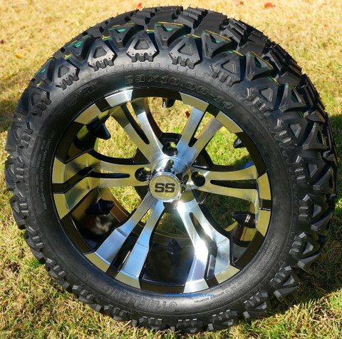 "14"" VAMPIRE Machined Aluminum Wheels and 23"" All Terrain Tires Combo"