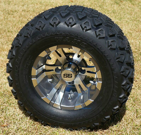 "10"" VAMPIRE Gunmetal Wheels and 20x10-10 DOT All Terrain Tires"