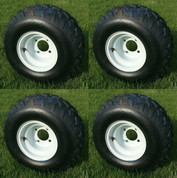 "RHOX 8"" White Steel Wheels and 18x8-8 RXAL All Terrain Golf Cart Tires"