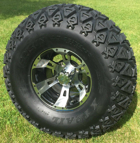 """10"""" RUCKUS Machined Wheels and 22x11-10 DOT All Terrain Tires Combo"""