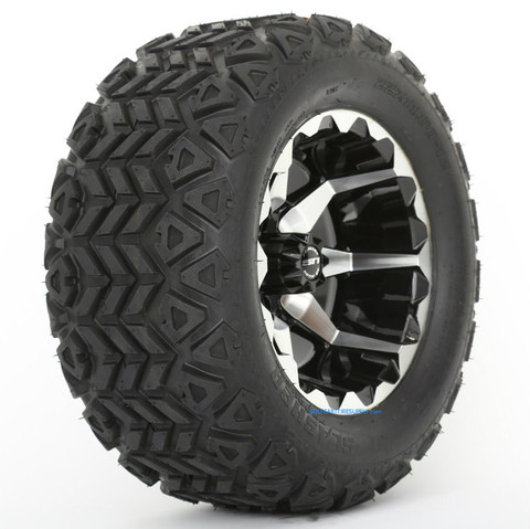 "STI HD6 12"" Machined/ Black Wheels and 22x11-12"" Slasher AT Trail Tires Combo"