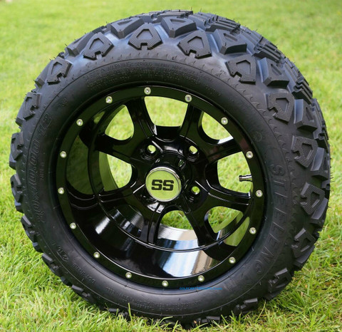"12"" STALKER Black Aluminum Wheels and 20x10-12"" All Terrain Tires Combo"