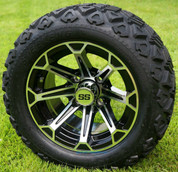 """12"""" FANG Machined/Black Aluminum Wheels and 20x10-12"""" All Terrain Tires Combo"""