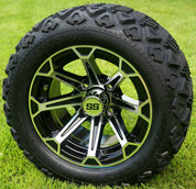 "12"" FANG Machined/Black Aluminum Wheels and 20x10-12"" All Terrain Tires Combo"