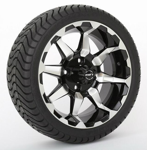 "14"" STI HD6 Machined/ Black Wheels and 205/30-14 Low Profile DOT Tires Combo"