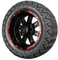 "14"" Madjax Transformer Black and Red Golf Cart Wheels and 23"" All Terrain Tires"