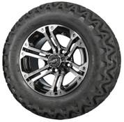 "12"" Madjax NITRO Black/ Machined Aluminum Golf Cart Wheels and All Terrain Tires Combo"
