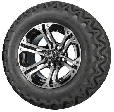 "12"" Madjax NITRO Black/ Machined Aluminum Golf Cart Wheels and All Terrain Tires Combo"